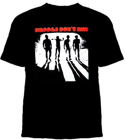 Clockwork Orange- Droogs Don't Run on a black shirt
