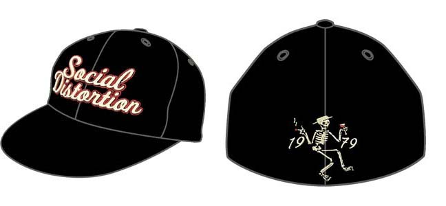 Social Distortion- Logo on front, 1979 Skeleton on back on a black baseball hat