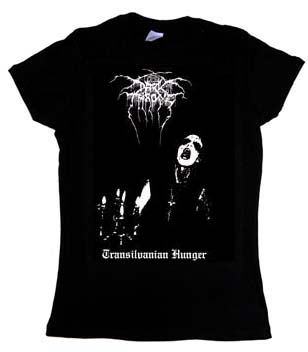 Darkthrone- Transylvanian Hunger on front, Logo on back on a black girls fitted shirt