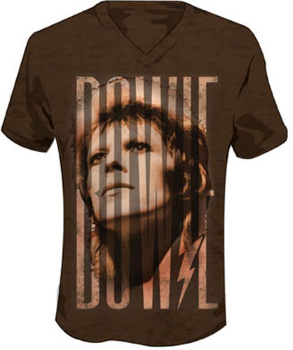 David Bowie- Face on an espresso V-Neck ringspun cotton shirt (Sale price!)