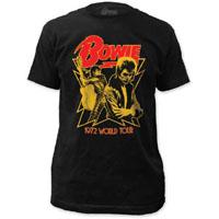 David Bowie- 1972 World Tour on a black ringspun cotton shirt