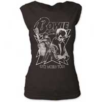 David Bowie- 1972 World Tour on a vintage black girls fitted cap sleeve shirt