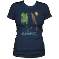 David Bowie- With Guitar on a navy girls fitted shirt (Sale price!)
