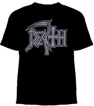 Death- Silver Logo on a black shirt