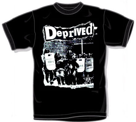 Deprived- Riot Cops on a black YOUTH SIZED shirt (Sale price!)