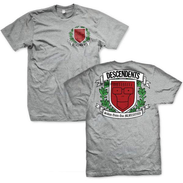 Descendents- Varsity Crest on front & back on a grey shirt