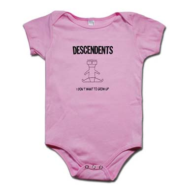 Descendents- I Don't Want To Grow Up on a pink onesie (S:3-6m, M:6-12m, L:12-18m, XL:18-24m)