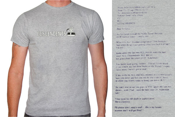 Descendents- Coffee Pot on front, Email on back on a grey shirt