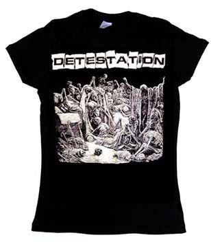 Detestation- Skeletons on a black girls fitted shirt