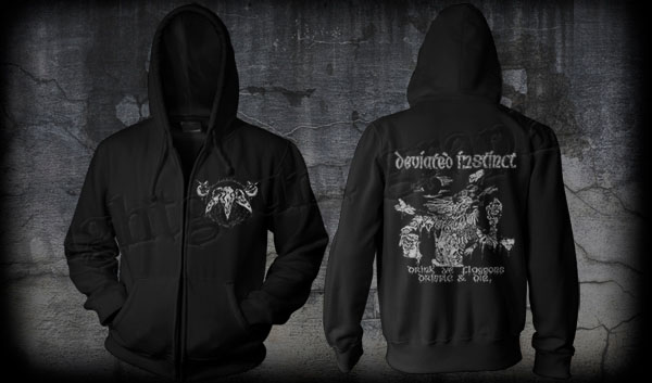 Deviated Instinct- Skull on front, Drink All Ye Flaggons on back on a black zip up hooded sweatshirt (Sale price!)