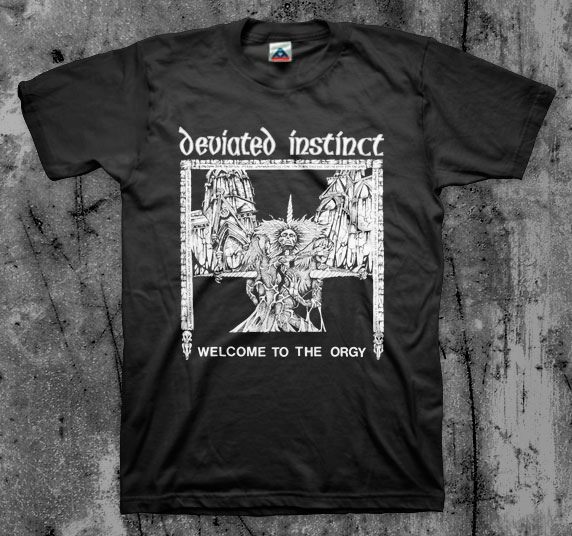 Deviated Instinct- Welcome To The Orgy #1 on a black youth sized shirt (Sale price!)