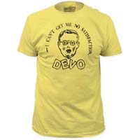 Devo- I Can't Get No Satisfaction on a banana ringspun cotton shirt (Sale price!)