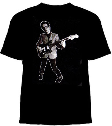 Elvis Costello- With Guitar on a black shirt (Sale price!)