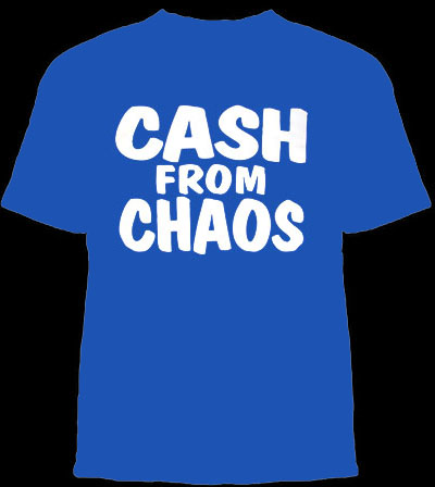 Seditionary- Cash From Chaos on a blue shirt (Sale price!)
