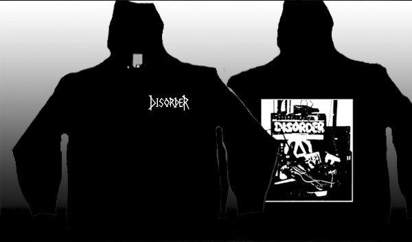Disorder- Logo on front, Amp on back on a black zip up hooded sweatshirt
