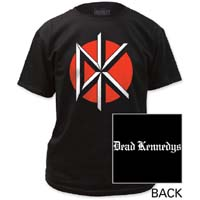 Dead Kennedys- DK on front, Logo on back on a black shirt