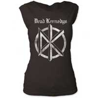 Dead Kennedys- Distressed DK & Logo on a charcoal girls fitted cap sleeve shirt
