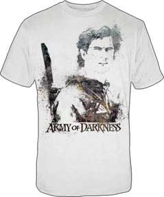 Army Of Darkness- Ash Splatter Print on a white shirt (Sale price!)