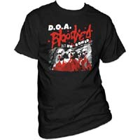 DOA- Bloodied But Unbowed on a black shirt
