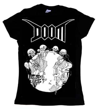 Doom- Globe on a black girls fitted shirt