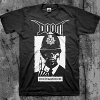 Doom- Doomageddon on a black shirt