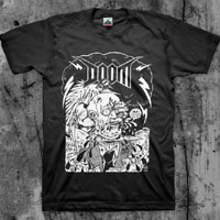 Doom- Blood For Oil on a black shirt