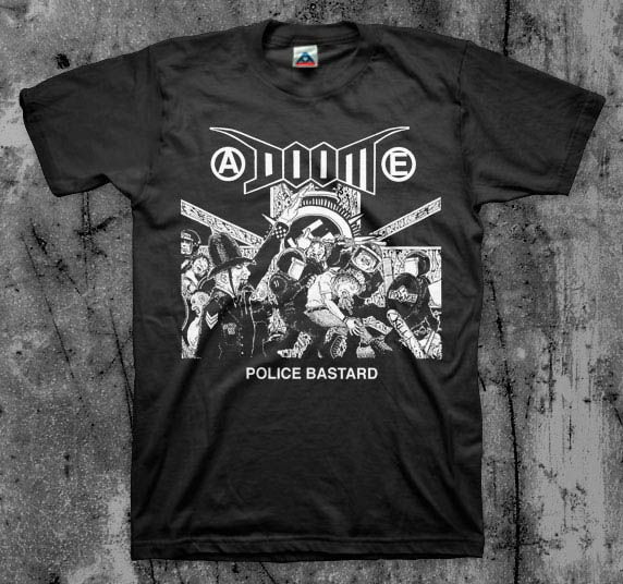 Doom- Police Bastard (Riot) on a black shirt