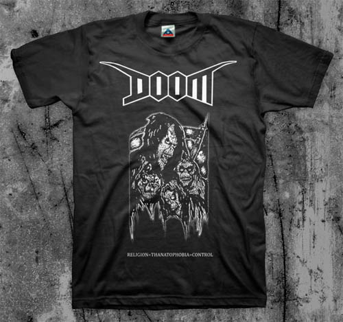 Doom- Religion = Thanatophobia = Control on a black shirt