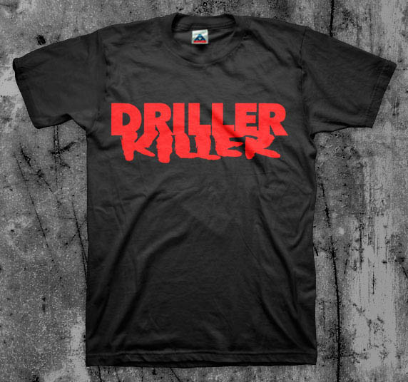 Driller Killer- Logo on a black YOUTH sized shirt