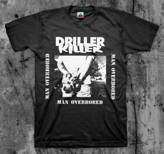 Driller Killer- Man Overbored on a black YOUTH sized shirt