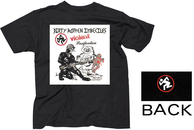 DRI- Violent Pacification (Skeleton W/ Skanker Guy, White Square, Black Logo) on front, Dancing Guy on back on a black shirt