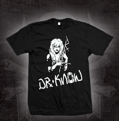 Dr. Know- Jungle Girl on a black shirt