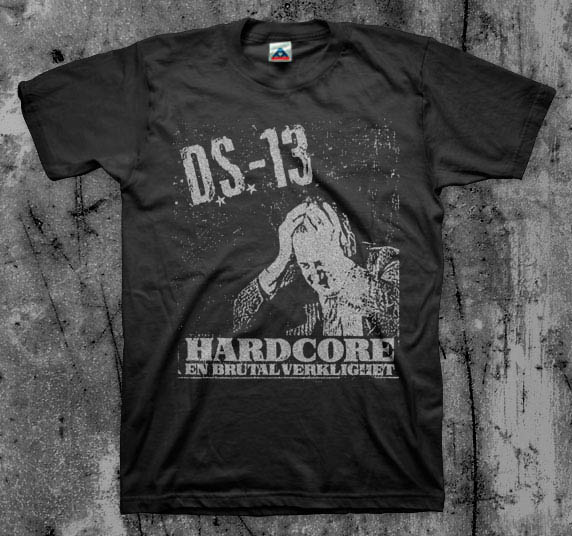 DS13- Hardcore on a black YOUTH sized shirt