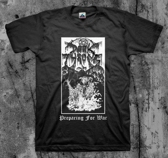 Darkthrone- Preparing For War on a black shirt