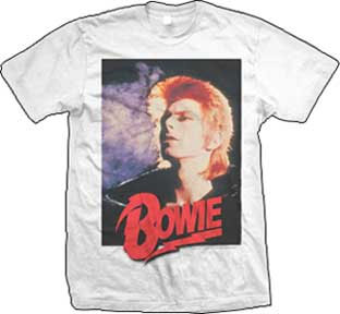 David Bowie- Retro Pic (Red Logo) on a white shirt (Sale price!)