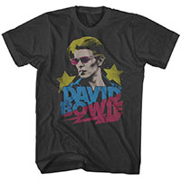 David Bowie- Red Sunglasses & Stars on a coal ringspun cotton shirt