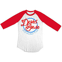 David Bowie- 1978 Tour on a white/red 3/4 sleeve shirt