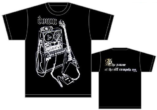 Down- Drawing on front, The Power Of The Riff Compels Me on back on a black shirt (Sale price!)