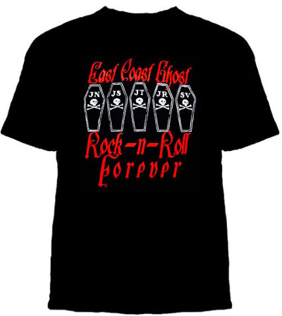 East Coast Ghost- Rock N Roll Forever on a black YOUTH SIZED shirt (Sale price!)