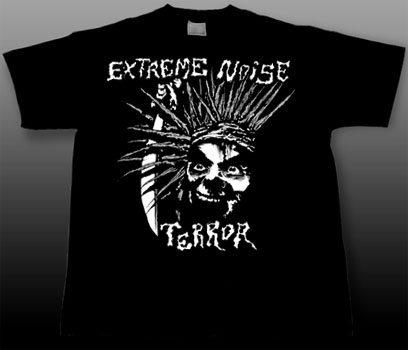 Extreme Noise Terror- Face on a black YOUTH sized shirt