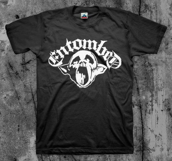 Entombed- Life Goes On (Skull) on a black YOUTH sized shirt