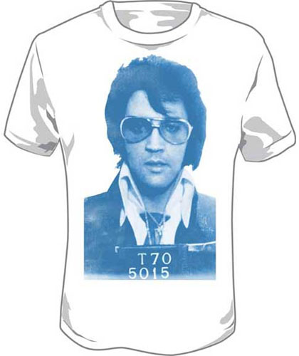 Elvis Presley- Mug Shot on a white shirt (Sale price!)