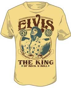 Elvis Presley- The King Of Rock N Roll on a light yellow shirt (Sale price!)