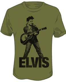 Elvis Presley- With Guitar on an olive shirt (Sale price!)