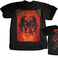 Cradle Of Filth- Demon on front, Peace Through Superior Fire Power on back on a black shirt