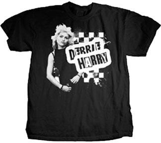 Blondie- Debbie Harry Checkerboard Pic on a black slim fit shirt