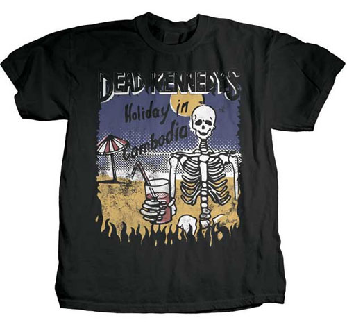 Dead Kennedys- Holiday In Cambodia (Skeleton) on a black shirt