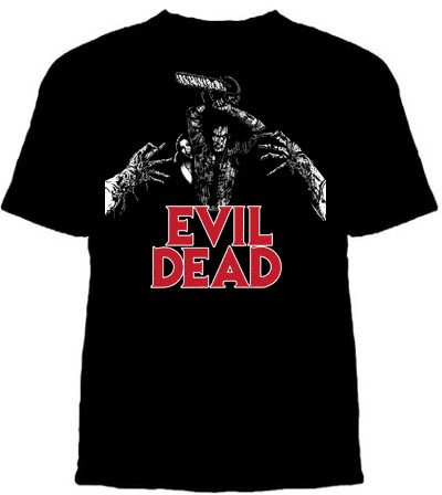 Evil Dead- Ash With Chainsaw & Red Logo on a black shirt