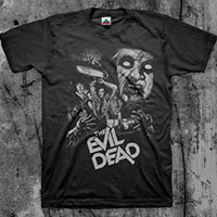 Evil Dead- Collage (Grey Print) on a black shirt