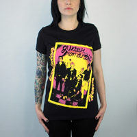 Exploding Hearts- Guitar Romantic on a black girls fitted shirt